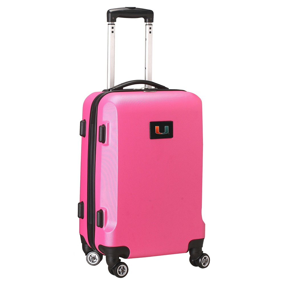 NCAA Miami Hurricanes Pink Hardcase Spinner Carry On Suitcase