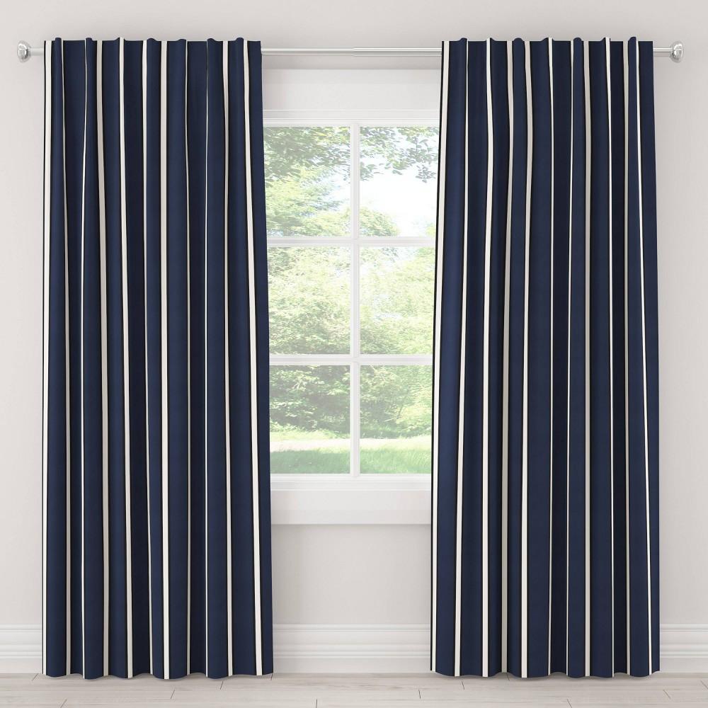 Best Buy 50x84 Unlined Dress Stripe Light Filtering Curtain Panel Navy Cloth Co Blue