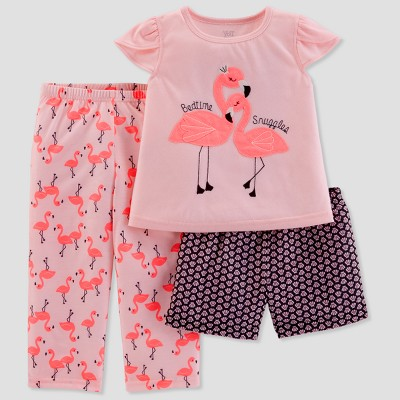Baby Girls' 3pc Flamingo Bedtime Snuggles Pajama Set - Just One You® made by carter's Pink 12M