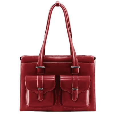 "McKlein Alexis 14"" Leather Ladies' Laptop Briefcase (Red)"
