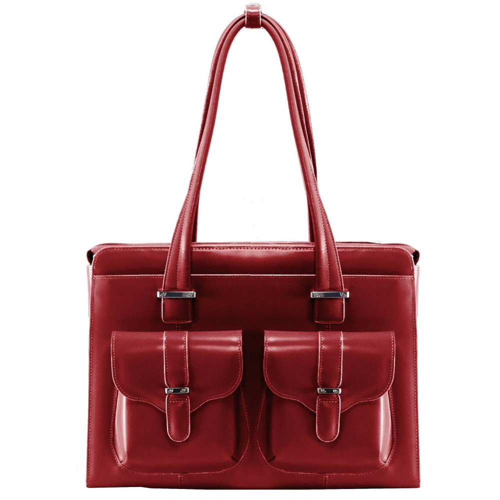 """Image of """"McKlein Alexis 14"""""""" Leather Ladies' Laptop Briefcase (Red), Women's"""""""