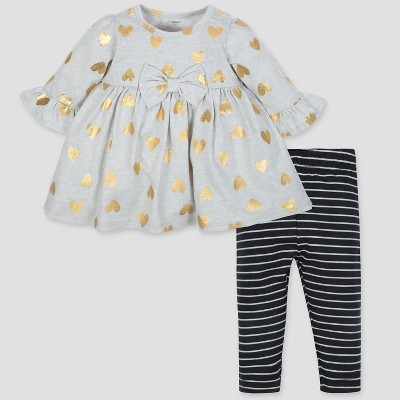 Gerber Baby Girls' 2pc Dress and Leggings - Gray/Black 3-6M