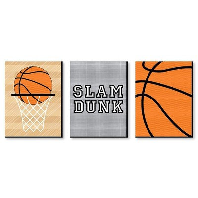 Big Dot of Happiness Nothin' but Net - Basketball - Sports Themed Nursery Wall Art, Kids Room Decor & Game Room Decor - 7.5 x 10 inches - 3 Prints
