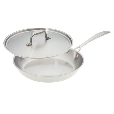 American Kitchen Cookware Premium Stainless Steel Covered 10 Inch Skillet