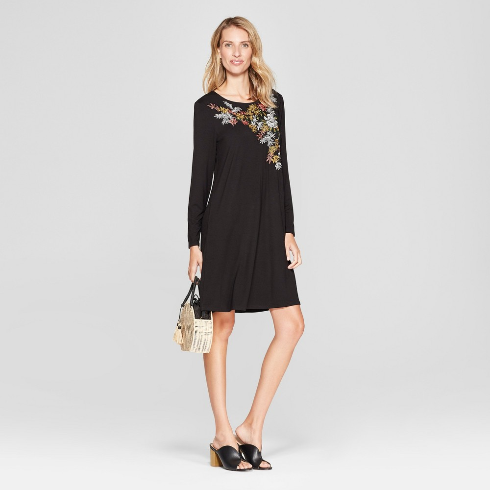 Women's Floral Print Knit Swing Dress - Spenser Jeremy - Black L