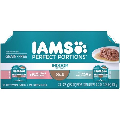 Iams Perfect Portions Grain Free Indoor Cuts In Gravy Salmon & Tuna Recipes Premium Wet Cat Food - 2.6oz/12ct Variety Pack