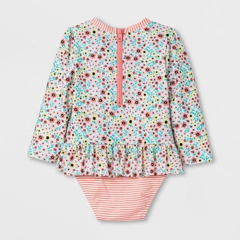 af51c26991b Baby Girls' Zip Rash Guard One Piece Swimsuit - Cat & Jack™ Pink : Target