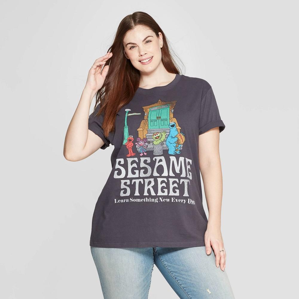 Women's Sesame Street Plus Size Short Sleeve Crewneck Front/Back T-Shirt (Juniors') - Black 2X, Gray