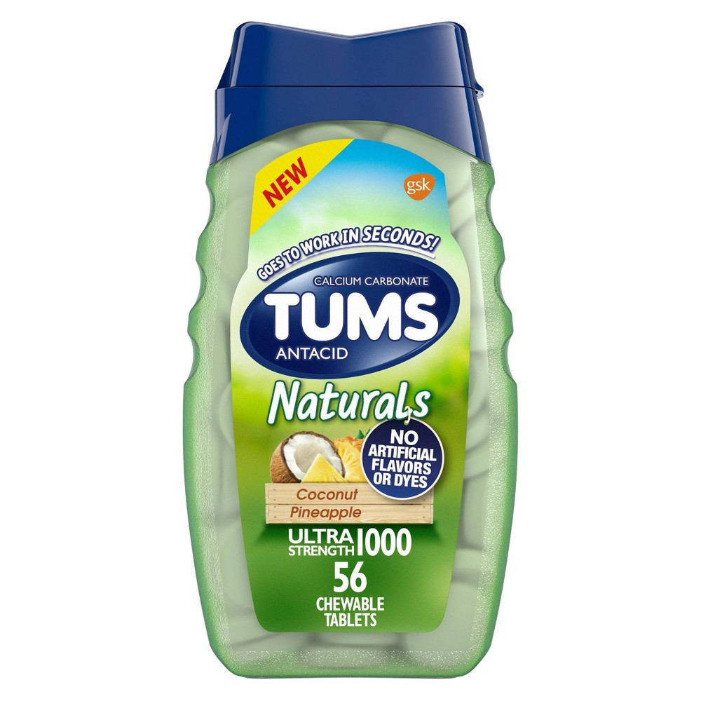 Tums Naturals Ultra Strength Antacid Chewable Tablets Coconut Pineapple 56ct