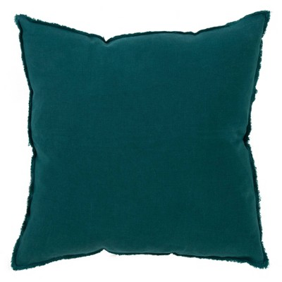Down Filled Fringed Design Linen Pillow Jasper Green - Saro Lifestyle