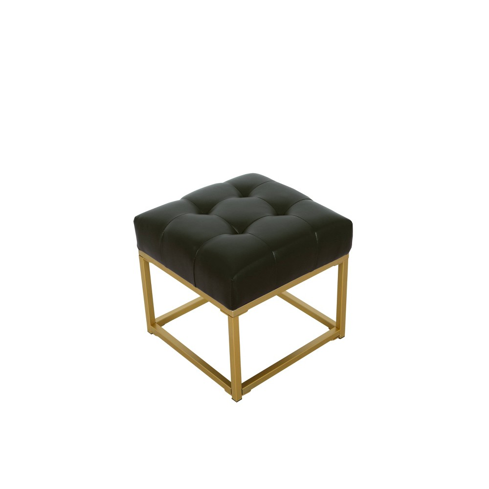 Tufted Faux Leather Ottoman Black - HomePop was $99.99 now $74.99 (25.0% off)
