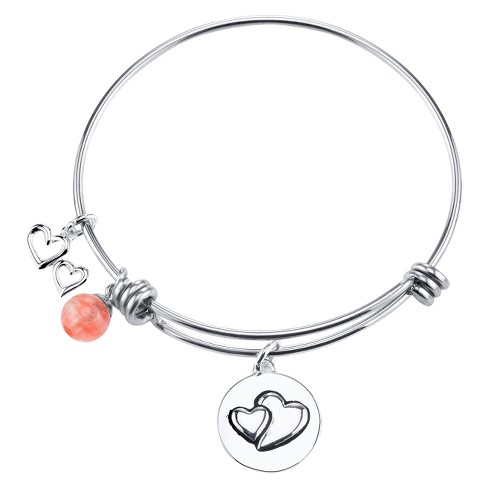 "Stainless Steel ""Sisters"" and Heart Charm Expandable Bracelet - 8"" - image 1 of 1"
