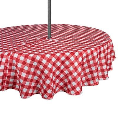 "60""R Check Outdoor Tablecloth With Zipper Red/White - Design Imports"