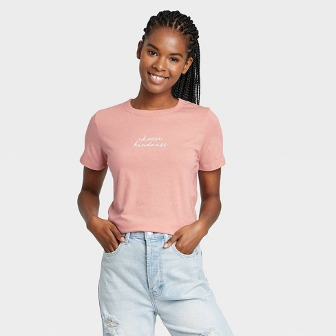 Women's Choose Kindness Short Sleeve Graphic T-Shirt - Rose - image 1 of 2