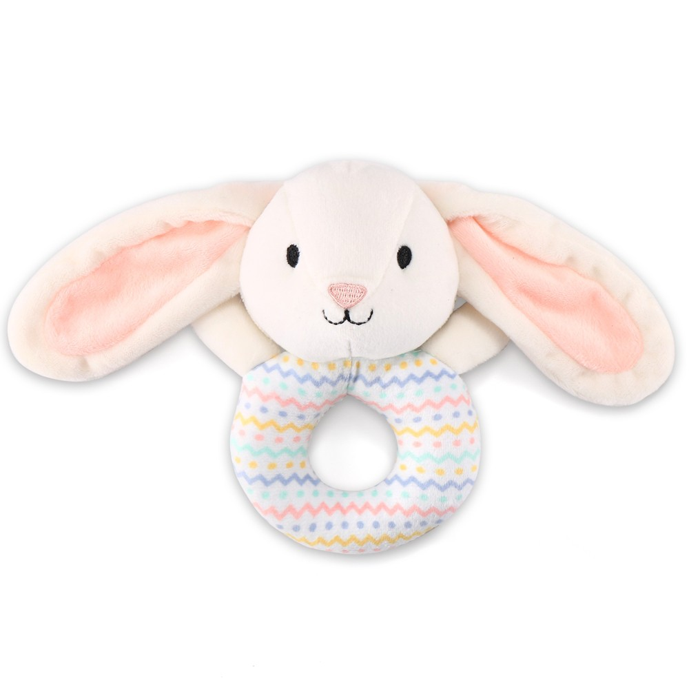 The Peanut Shell Plush Bunny Rattle - Pink