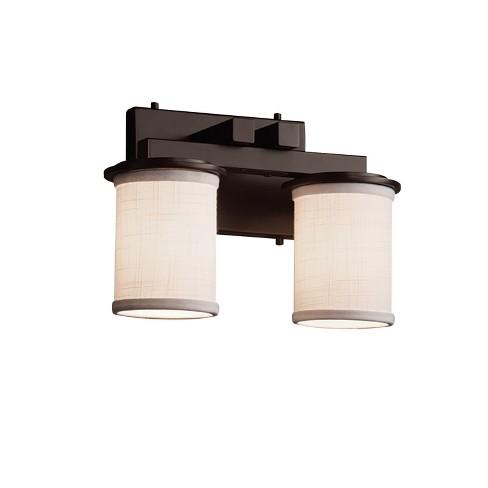 "Justice Design Group FAB-8772-10-WHTE Textile 13"" Dakota 2 Light Vanity Light - image 1 of 1"