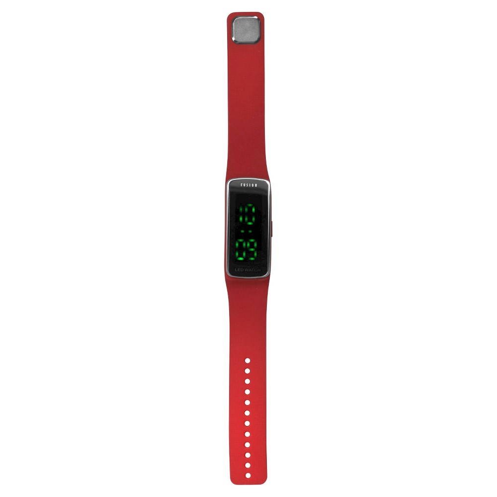 Image of Boys' Fusion Hidden LED Digital Sportwatch - Red, Boy's, Red Black