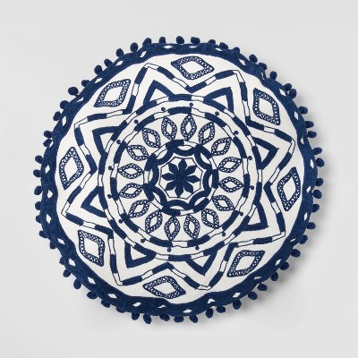 Embroidered Medallion Round Throw Pillow White/Blue - Opalhouse™