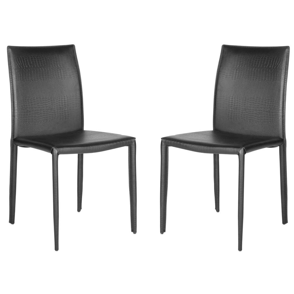 Geneva Dining Chair (Set of 2) - Safavieh, Black Snakeskin