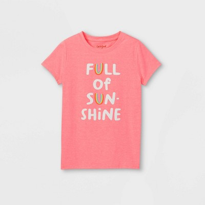 Girls' 'Full Of Sunshine' Graphic Short Sleeve T-Shirt - Cat & Jack™ Neon Pink