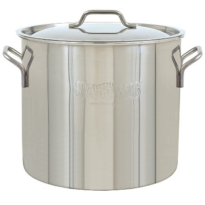 Bayou Classic 30 Quart / 7.5 Gallon Stainless Steel Kitchen Restaurant Malt Beer Brew Kettle Gumbo Soup Stock Pot with Lid, Mirror Satin