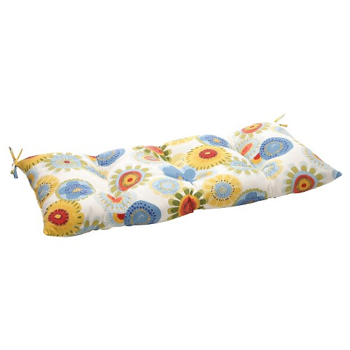 Outdoor Tufted Bench/Loveseat/Swing Cushion - Blue/White/Yellow Floral