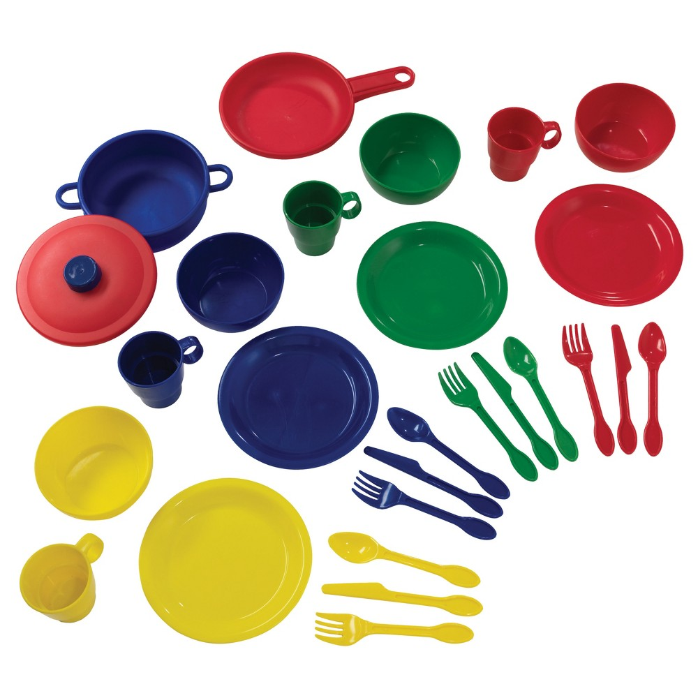 KidKraft Primary Colors Cookware 27 Piece Set This complete KidKraft 27-Piece Cookware Set has everything little cooks need to serve their friends, family or stuffed animals. With a lidded pot, pan and place settings for four, this set has everything kids need to be perfect hosts. Built from sturdy, easy-to-clean plastic, this set is built to last. Gender: Female.