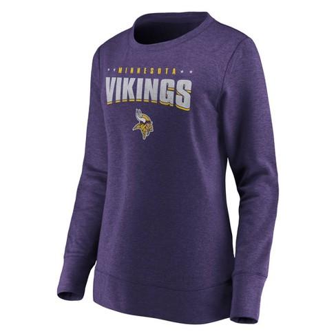 NFL Minnesota Vikings Women's Distressed Throwback Fleece T-Shirt - image 1 of 3
