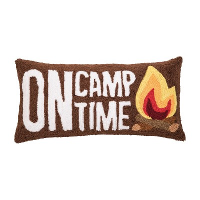 """C&F Home 12"""" x 24"""" On Camp Time Hooked Pillow"""