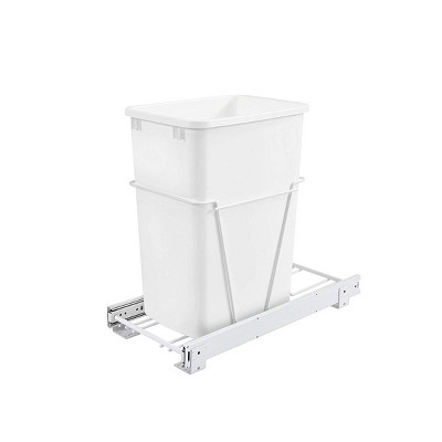 Rev-A-Shelf RV-12PB Single 35 Quart Pull-Out Kitchen Cabinet Waste Bin Container Garbage Trash Can with Slides and Simple Installation, White