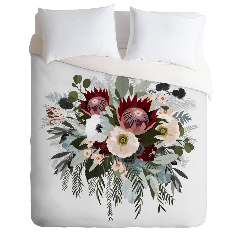Full/Queen Iveta Abolina Floral Sun Duvet Set White - Deny Designs