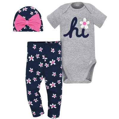 Gerber® Baby Girls' 3pc Daisy Bodysuit, Cap and Pant Set - Gray/Navy 6-9M