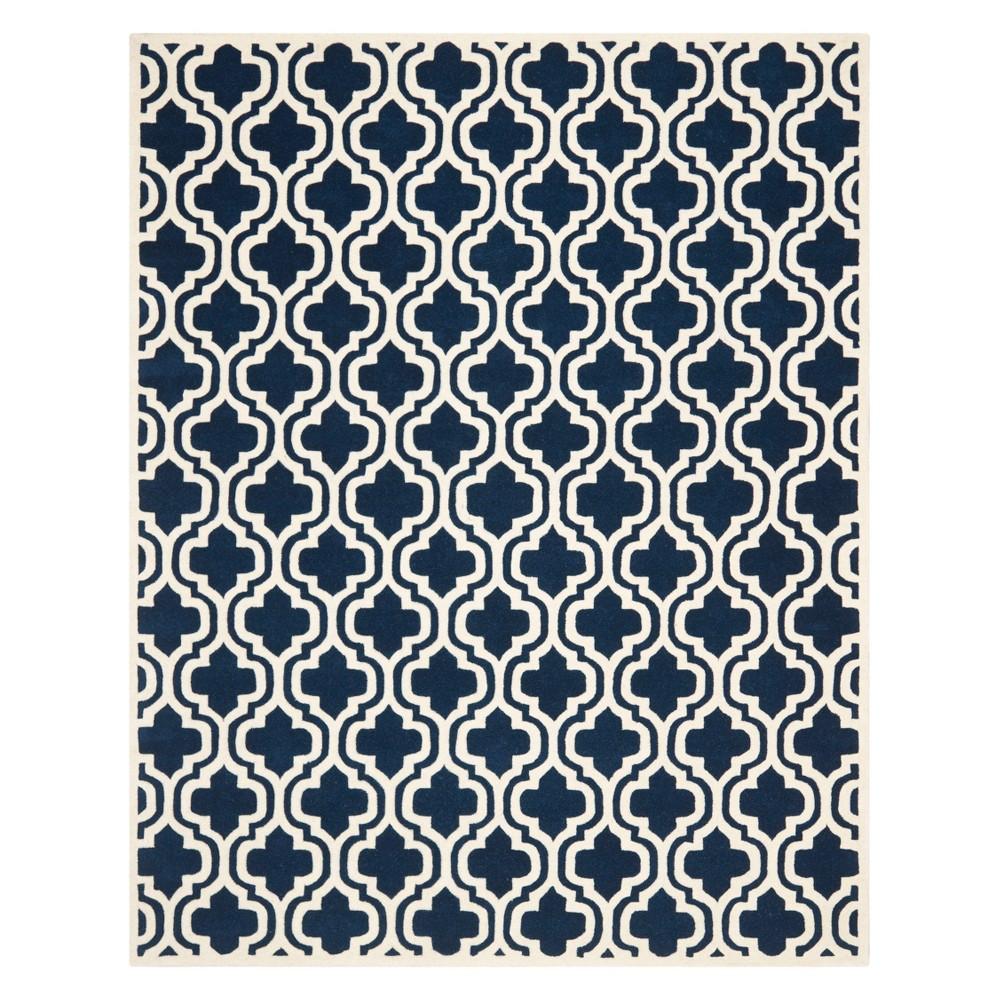 10'X14' Quatrefoil Design Tufted Area Rug Dark Blue/Ivory - Safavieh Product Image