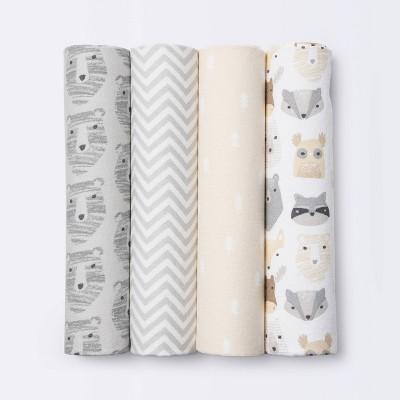 Flannel Baby Blankets Little Cub - Cloud Island™ Gray/Neutral 4pk