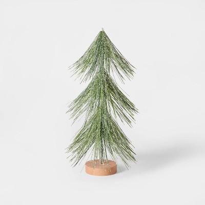 12in Unlit Tinsel Christmas Tree Decorative Figurine Green - Wondershop™