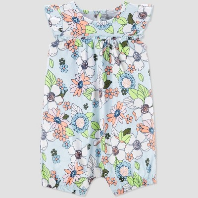 Baby Girls' Floral One Piece Romper - Just One You® made by carter's Blue 3M