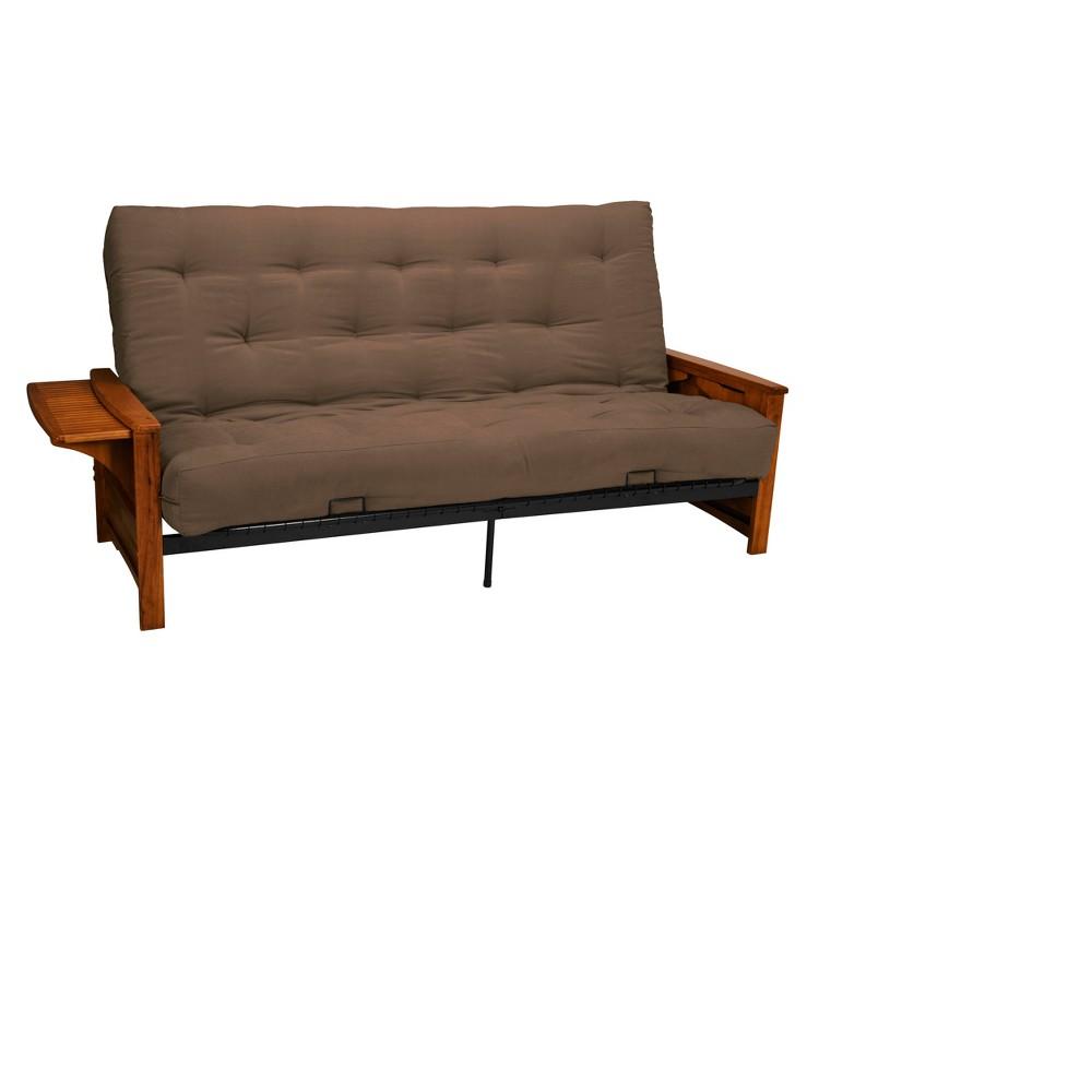 8 Brooklyn Inner Spring Futon Sofa Sleeper Walnut Wood Finish Pecan - Epic Furnishings