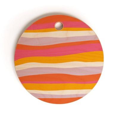 """13"""" Wood Sunshine Canteen Cali Beach Stripes Cutting Board - society6"""