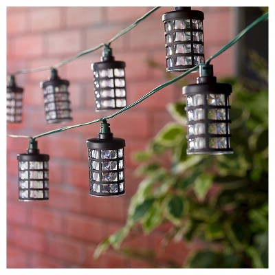 14.7' Smart Solar String Light Amalia Black - 20 White LEDs
