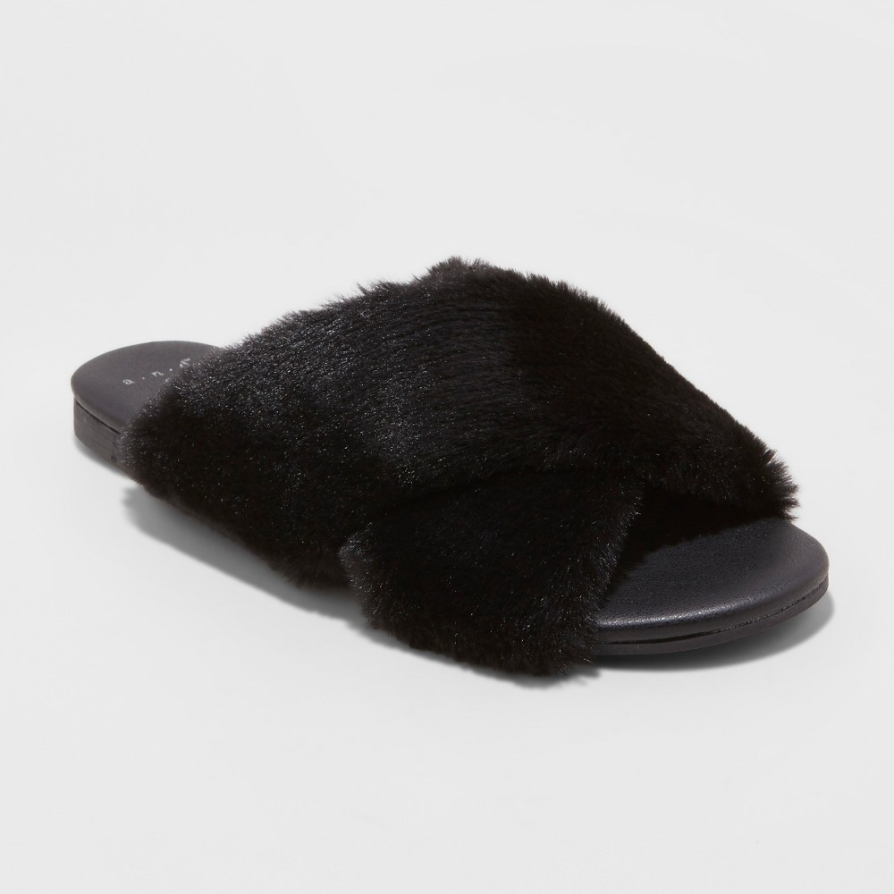 Women's Frannie Crossband Faux Fur Slide Sandals - A New Day Black 6