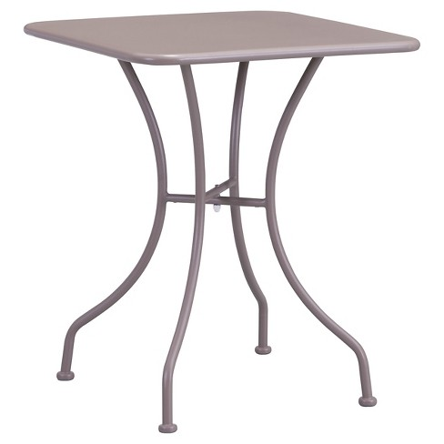 "Square Weather Resistant Steel 24"" Dining Table - Taupe - ZM Home - image 1 of 3"