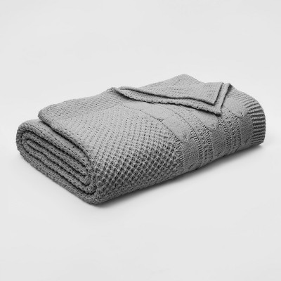 Full/Queen Cable Knit Chenille Blanket Gray - Threshold™