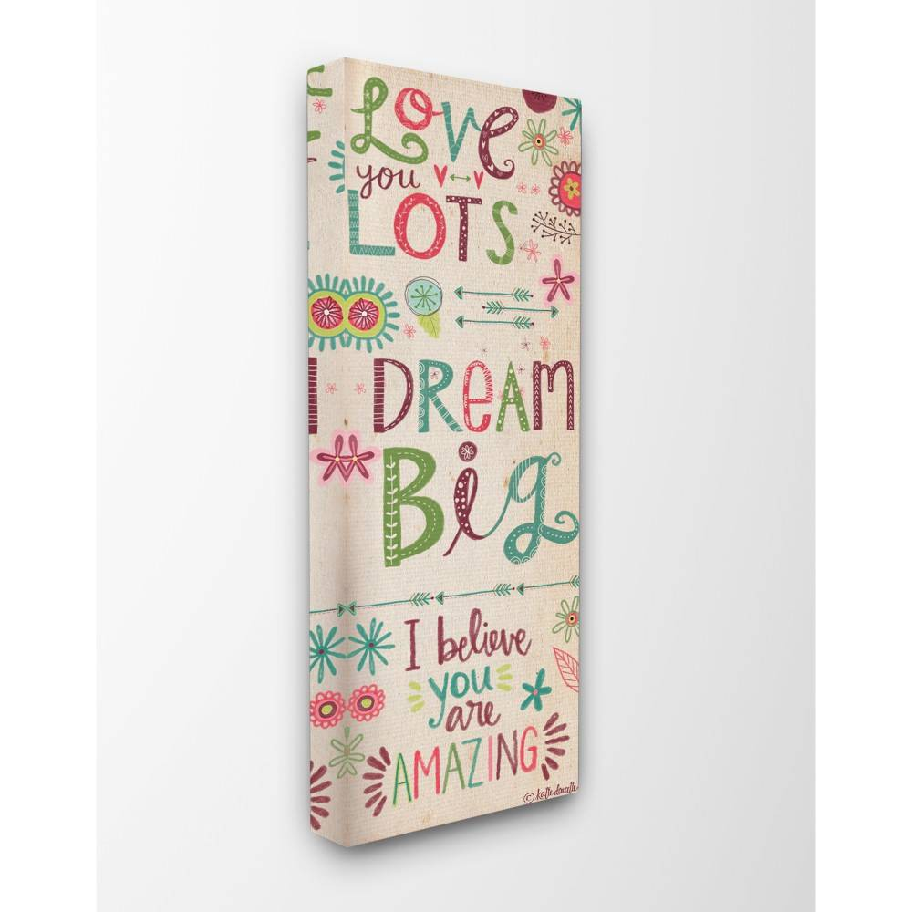 "Image of ""10""""x1.5""""x24"""" Love You Lots Dream Believe Stretched Canvas Wall Art - Stupell Industries"""