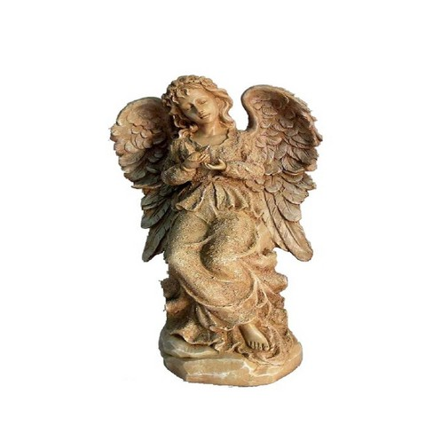"""18"""" Polyresin Sitting Angel Holding a Bird Outdoor Statue Beige - Hi-Line Gift - image 1 of 1"""