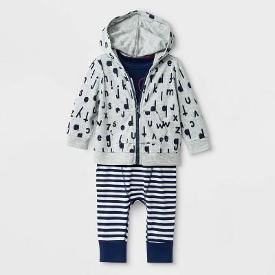 Baby Boys' 3pc Hoodie Top And Bottom Set - Cat & Jack™ Blue Newborn