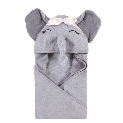 Hudson Baby Infant Girl Cotton Animal Face Hooded Towel, Flower Elephant, One Size