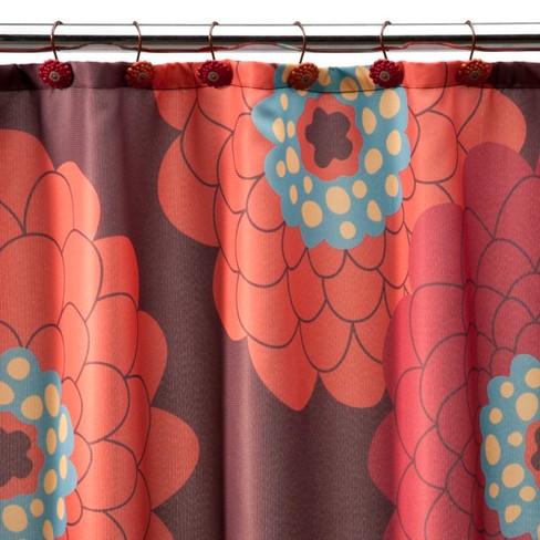 Stella Floral Shower Curtain Red Orange Target
