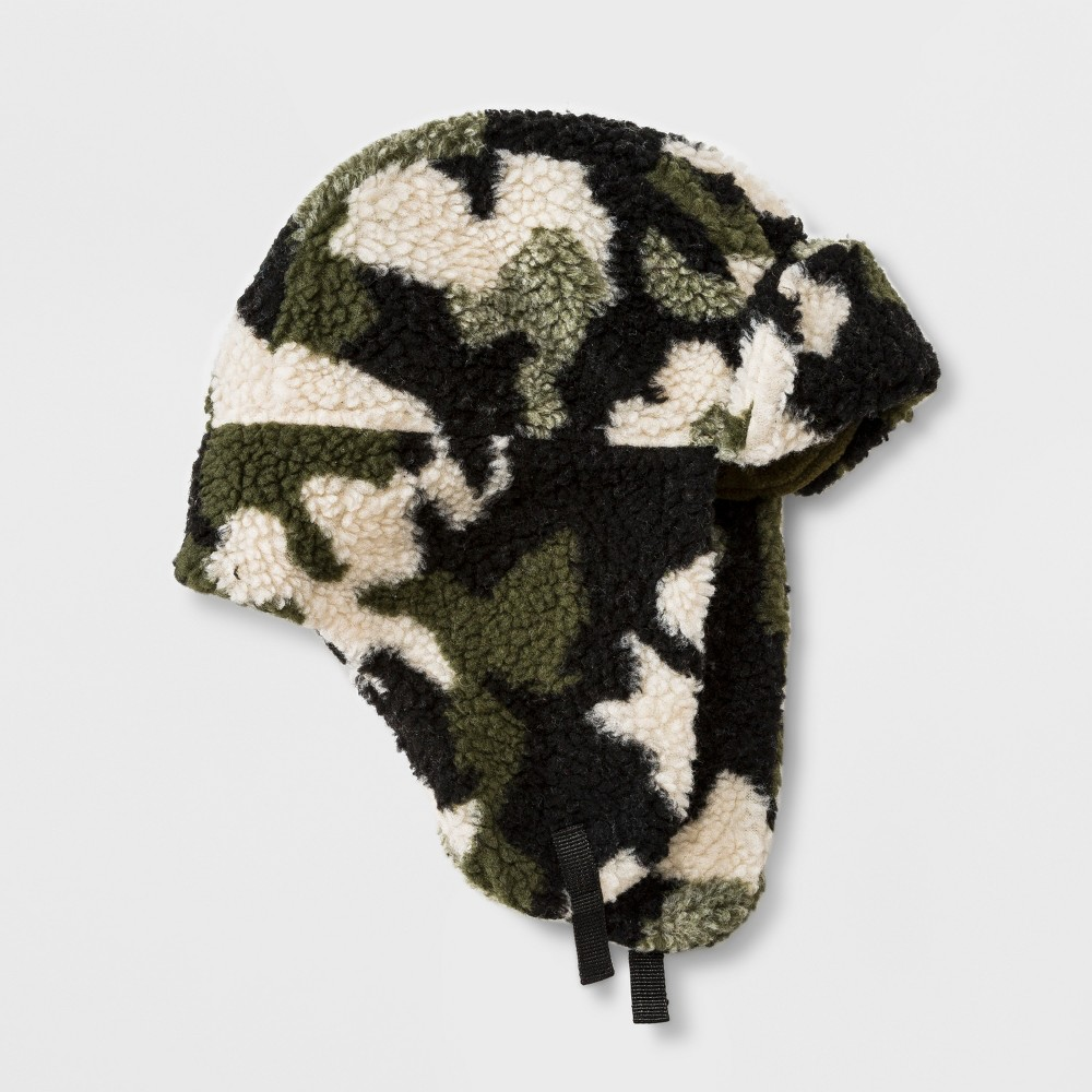 Boys' Sherpa Camo Trapper Hat - Cat & Jack Green One Size thumbnail