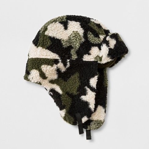 Boys' Sherpa Camo Trapper Hat - Cat & Jack™ Green One Size - image 1 of 1