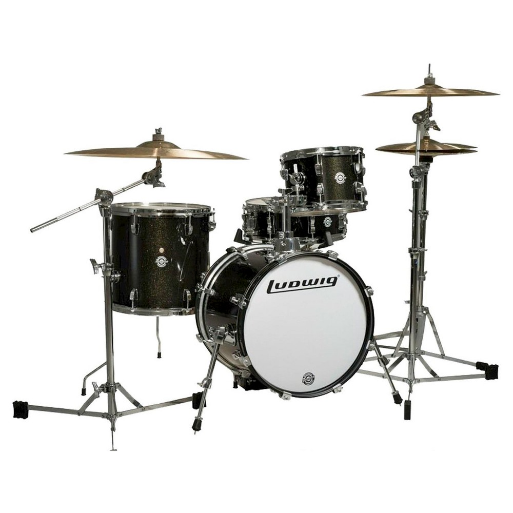 Ludwig Breakbeats 4 Piece Shell Pack with Riser - Black Sparkle